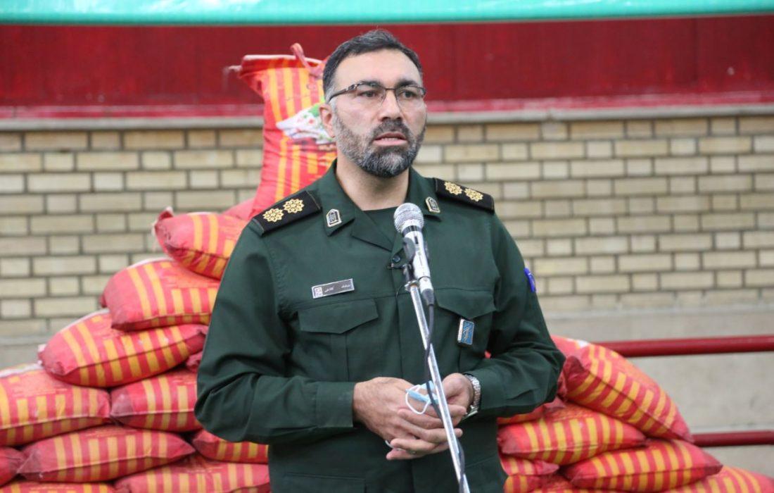 توزیع ۱۲۰۰ بسته حمایتی توسط سپاه ناحیه حضرت روح الله(ره)