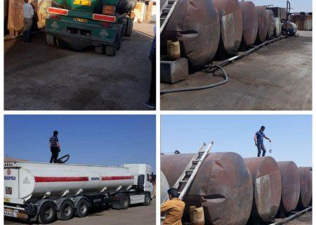 مرکز غیر مجاز دپوی فرآورده های نفتی در محدوده روستای لپه زنک بخش خاوران شناسایی و جمعآوری شد